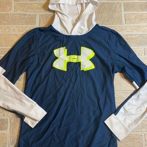 Under Armour Youth Large Hoodie Blue White Green
